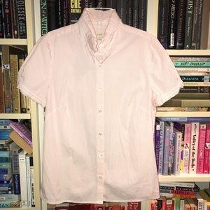 J Crew Ruffle Collar Short Sleeve Striped Shirt